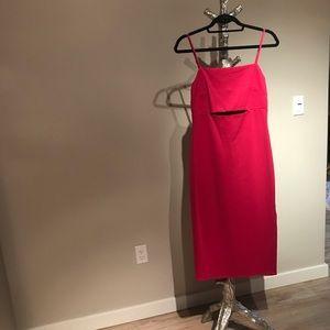 Hot pink midi length cut out dress